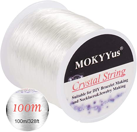 100m Elastic String Bead Cord for Bracelets Suitable for DIY Jewelry Making Easily Through Beaded Jewelry 0.8mm Crystal String Stretch Line Necklace Bracelet Beading Thread Elastic Beaded String