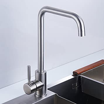 Hotbestus Wet Bar Sink Faucet Stainless Steel Single Hole 360 Degree