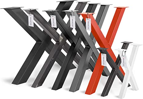 HOLZBRINK 1x Pata de Mesa en Forma de X Perfiles de Acero 60x60 mm, Tamaño 80x72 cm, Negro Intenso, HLT-03-G-FF-9005: Amazon.es: Bricolaje y herramientas