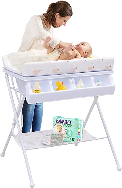 Costway Table A Langer Commode A Langer Ombination Table A Langer A Matelas A Langer Baignoire Bebe Pliable Amazon Fr Bebes Puericulture