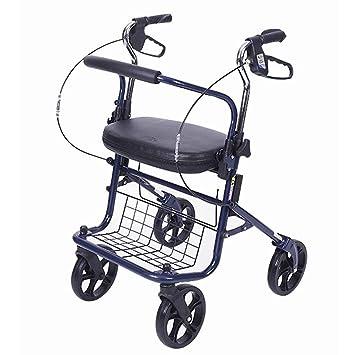 Amazon.com: Andador plegable de cuatro ruedas con asiento ...