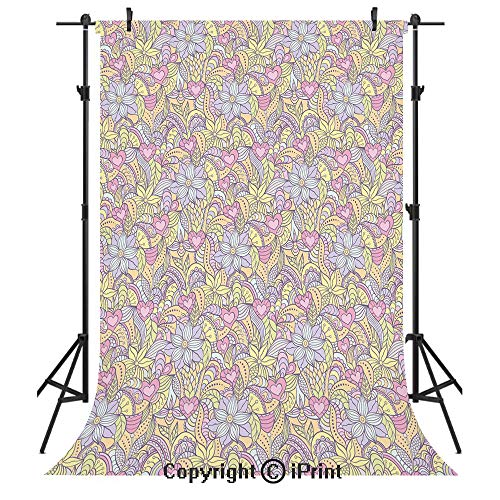 Pop Beauty Lip Pastel - Floral Photography Backdrops,Soft Toned Abstract Flowers Figures Pastel Girlish Beauty Vivid Hearts Butterflies Decorative,Birthday Party Seamless Photo Studio Booth Background Banner 3x5ft,Multicolor