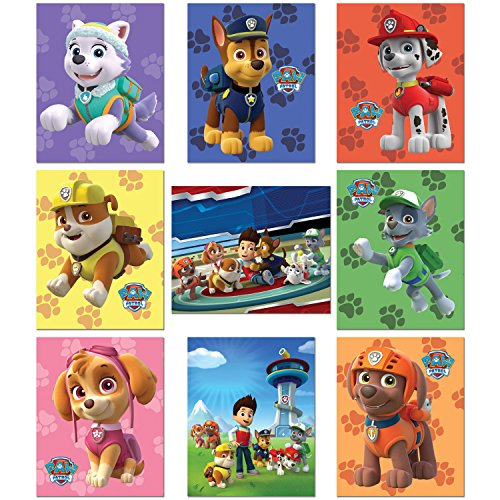 PAW Patrol Wall Art Poster Prints - Set of Nine 8x10 Photos - Ryder Chase Marshall Skye Zuma Rubble ()