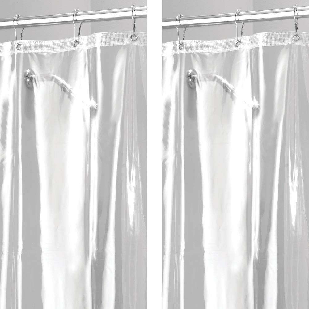 mDesign - 2 Pack - Extra Long Waterproof, Mold/Mildew Resistant, Heavy Duty Premium Quality 10-Guage Vinyl Shower Curtain Liner for Bathroom Shower Stall and Bathtub - 72'' x 96'' - Clear