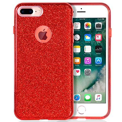 MATEPROX iPhone 7 Plus Case Shiny Glitter CASE [Bling Crystal Clear][Extremely Sparkly], Slim Premium 3 Layer Hybrid, Protective Case for iPhone 7 Plus 5.5 Inch - Red