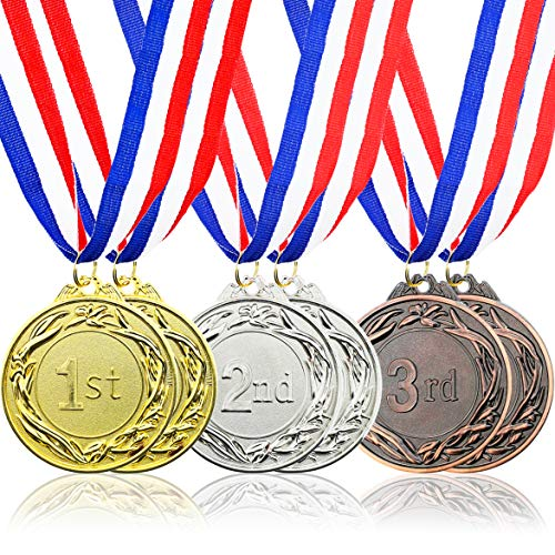 Award Gold Ribbon - Juvale 6-Piece Set Metal Olympic Style Award Medals with Ribbons in Gold, Silver, and Bronze