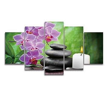 Amazon.de: 5 Panel Leinwand Wand Art Lila Phalaenopsis Orchideen ...