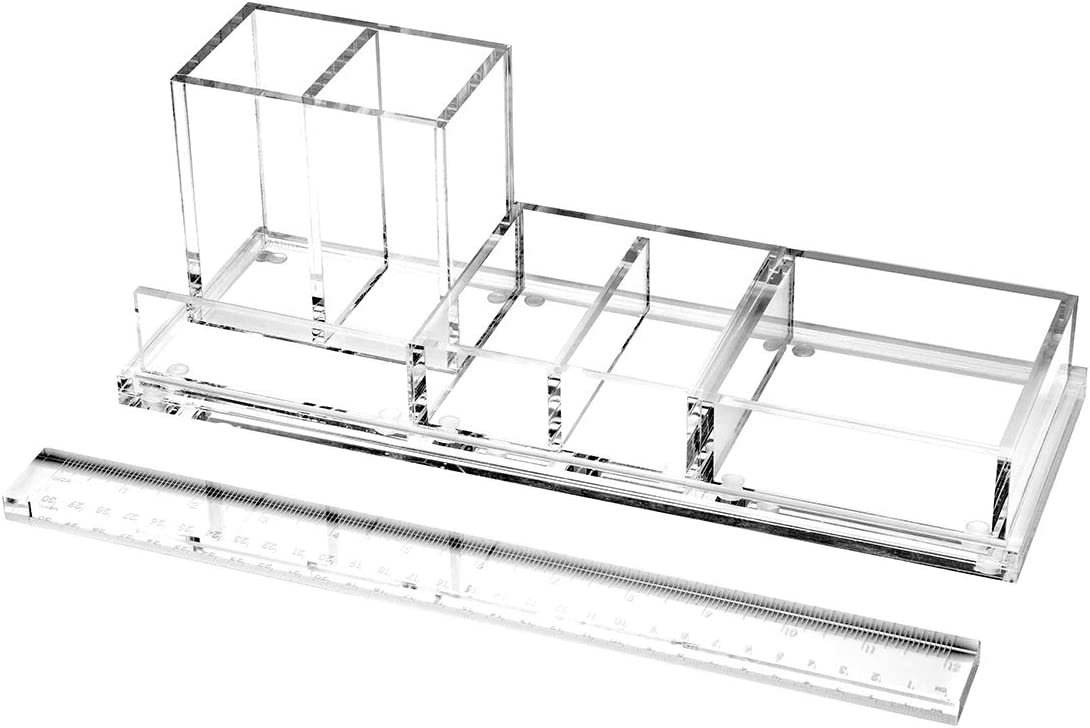 EXPUTRAN Clear Acrylic Desk Organizer 4-Piece Desk Kit + Free Complimentary Acrylic Ruler, Desktop Organization for Office or Home