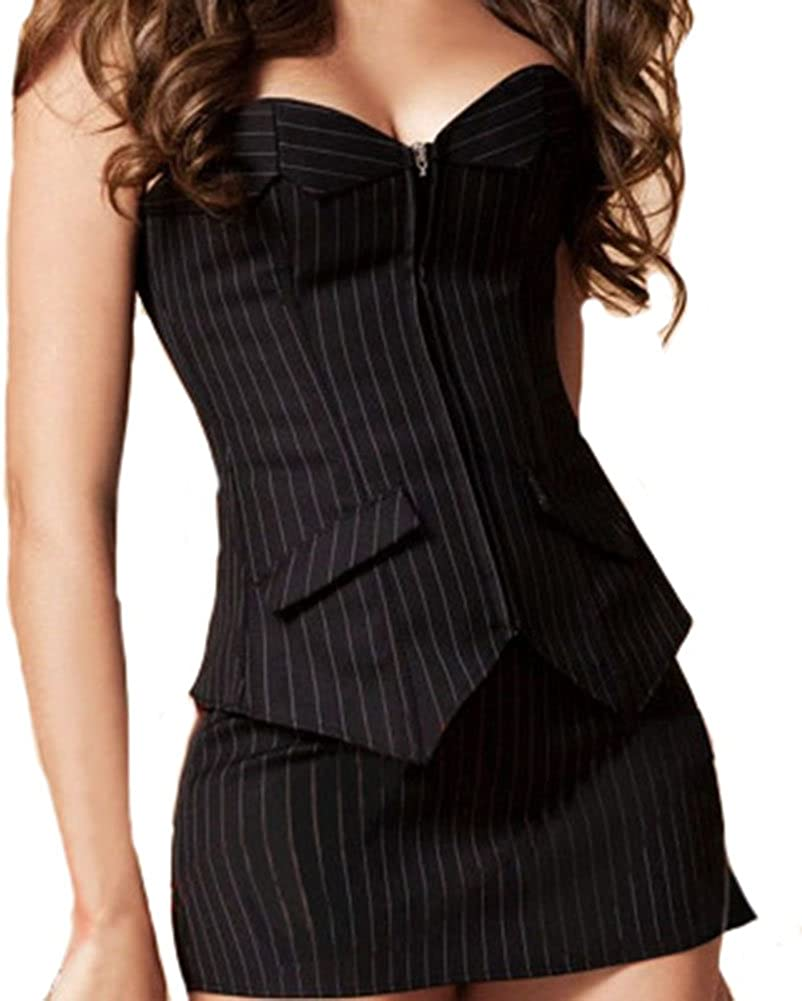 GSHappyGo Gothic Office Stripes Suit Corset and Skirt Set Basques Lingerie