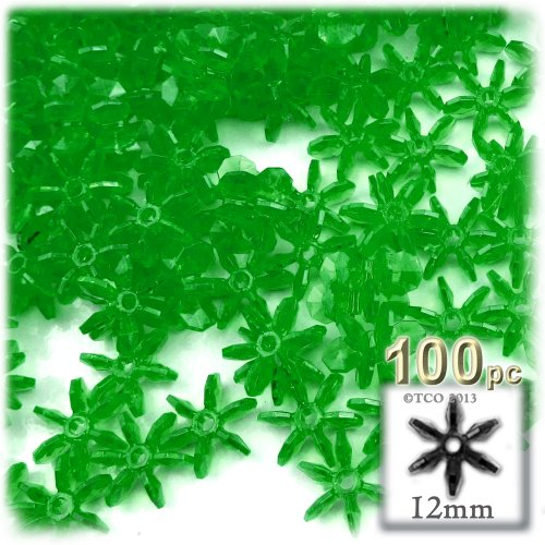 The Crafts Outlet 1000-Piece Round Faceted Plastic Transparent Starflake Beads, 12mm, Emerald Green