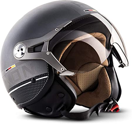 Soxon Sp 325 Plus Titanium Ace Jet Helm Motorrad Helm Roller Helm Scooter Helm Moped Mofa Helm Chopper Retro Vespa Vintage Pilot Biker Ece 22 05 Visier Schnellverschluss Tasche M 57 58cm Auto