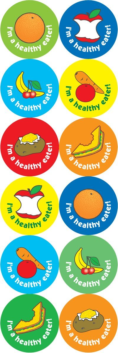 The Sticker Factory 24mm Lunchtime/healthy eating reward stickers: 120 stickers