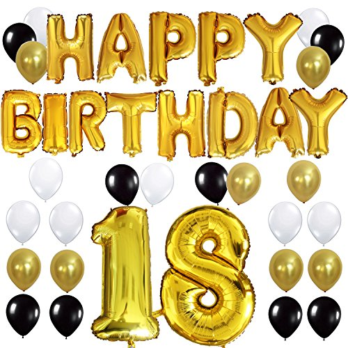 "KUNGYO 18TH Birthday Party Decorations Kit - Happy Birthday Balloon Banner, Number ""18"" Balloon Mylar Foil, Black Gold White Latex Ballon, Perfect 18 Years Old Party Supplies"