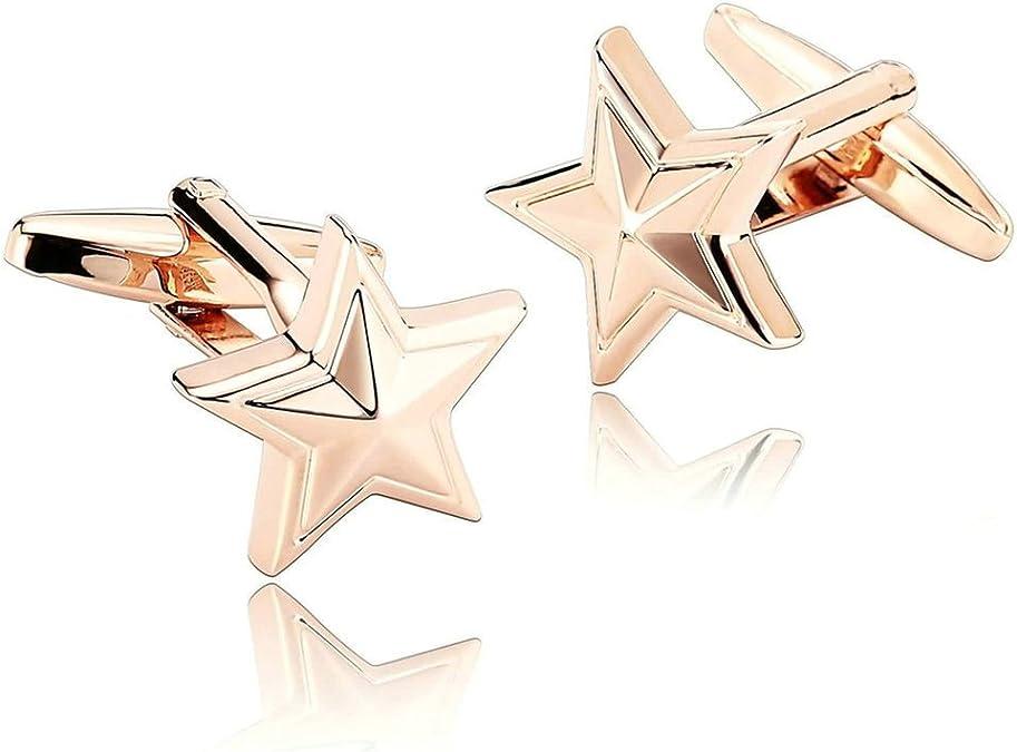 Daesar 2 Piezas Gemelos Hombre Rodio Plateado Rosa Oro Estrella de Mar Estrella de Pescado Mares Playa Camisa Alianzas de Boda: Amazon.es: Joyería