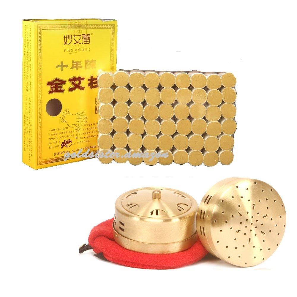 10-Years Purity 60:1 Ratio 54 Rolls Sticks Pure Moxibustion + 1 Copper Portable Smokeless Mugwort Moxibustion Moxa Box Round Shape Burner Set X'mas Gift / Dad's / Mom's Gift [Gold Sister] GD