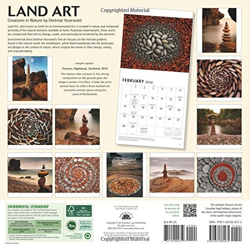 Land Art 2016 Wall Calendar: Creations in Nature