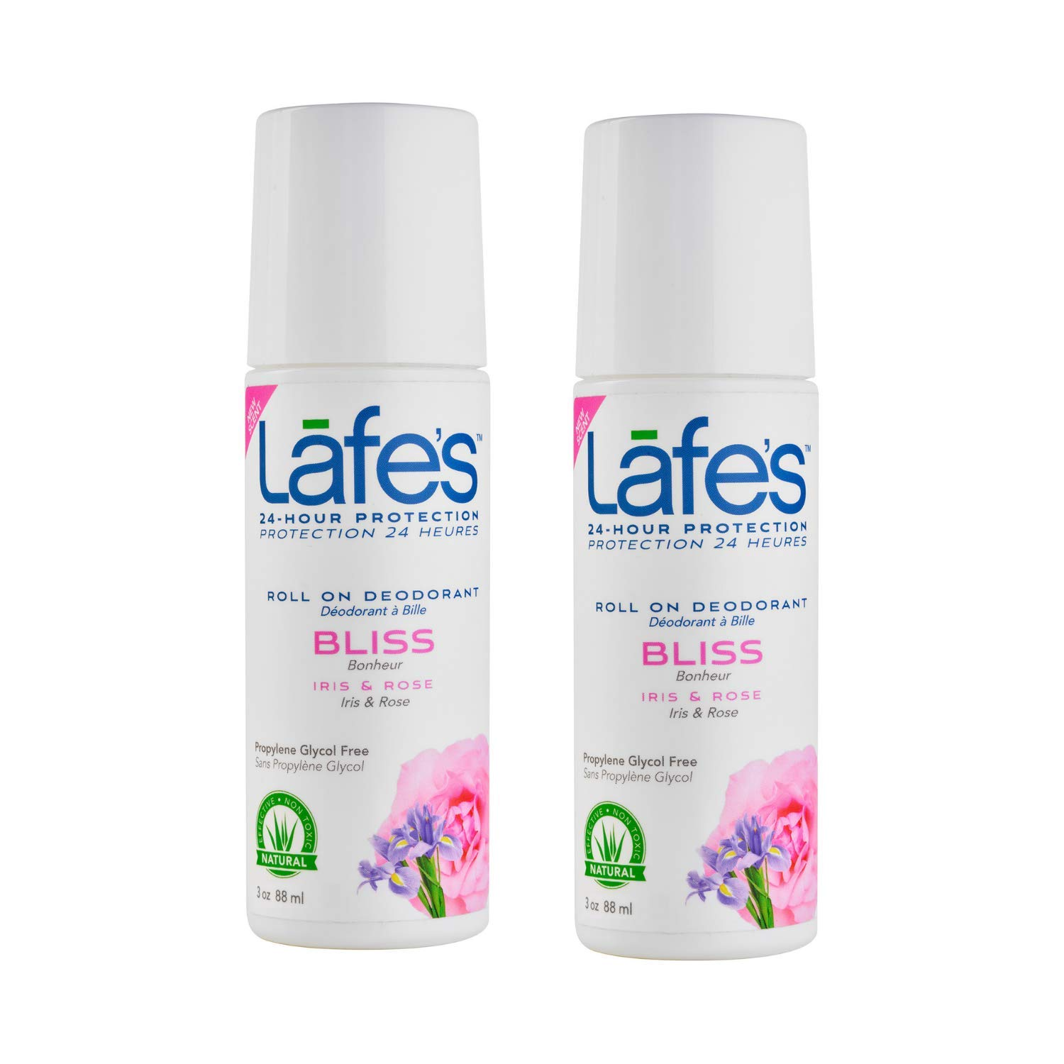 Lafe's | Bliss - Iris & Rose - Roll-On Aluminum Free Natural Deodorant for Women & Men | Vegan, Cruelty Free, Gluten Free, Paraben Free & Baking Soda Free with 24-Hour Protection; 2 Pack (3oz each)