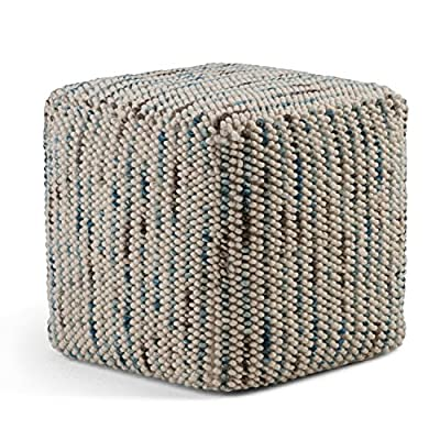 Simpli Home AXCPF-01 Zoey Woven Cube Pouf in Multi Color Cotton and Wool