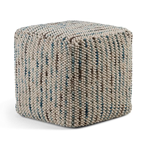 Simpli Home AXCPF-01 Zoey Transitional Cube Woven Pouf in Multi Color Cotton and Wool (Pouf Cube)