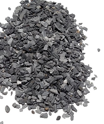 Natural Slate Stone - Less than 1/8 inch Slate Gravel for Miniature or Fairy Garden, Aquarium, Model Railroad & Wargaming 8oz (Decorative Soil Cover)