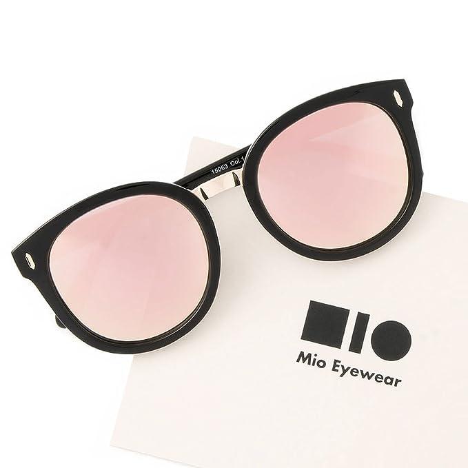 e03e925fa5 Amazon.com  Mio Eyewear  Round - Pink Mirrored  Fashion Sunglasses ...