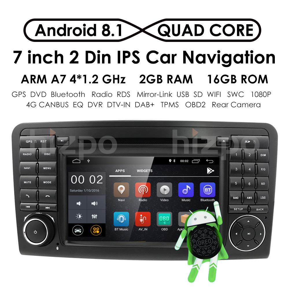 "Android 8.1 Quad Core Car in Dash Radio for Mercedes Benz ML Class W164 2005-2012 & ML300 & ML350 & ML450 & ML500 DVD Player GPS Navigation 7"" Car PC Stereo Head Unit"