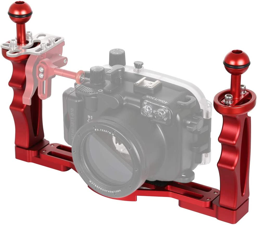 JINGZ Dual Handles Aluminium Alloy Tray Stabilizer for Underwater Camera Housings Durable Color : Red