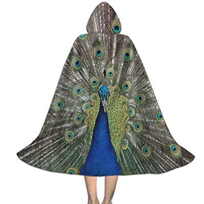 Ernest Congreve Clokes with Hoods for Kids Peacock and Feather Hooded Cape for Halloween Costumes Riding Cosplay: Clothing