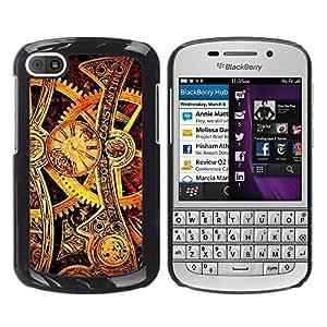 All Phone Most Case / Hard PC Metal piece Shell Slim Cover Protective Case Carcasa Funda Caso de protección para BlackBerry Q10 Time Mechanic Gold Wheels Gears Watch