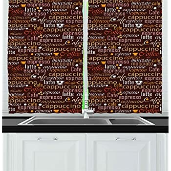 Kitchen Kitchen Curtains By Ambesonne, Cafe Typography Art Stylized Coffee  Culture Words Cappuccino Latte Illustration