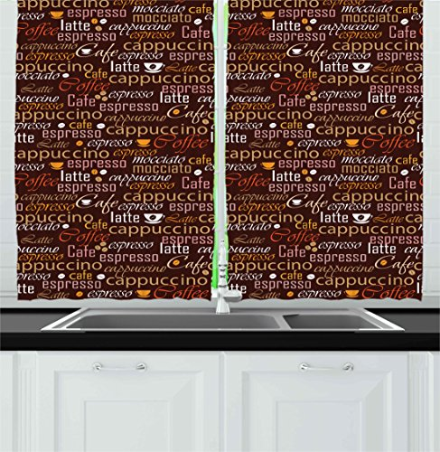 Kitchen Kitchen Curtains by Ambesonne, Cafe Typography Art Stylized Coffee Culture Words Cappuccino Latte Illustration, Window Drapes 2 Panels Set for Kitchen Cafe, 55W X 39L Inches, Chestnut Brown