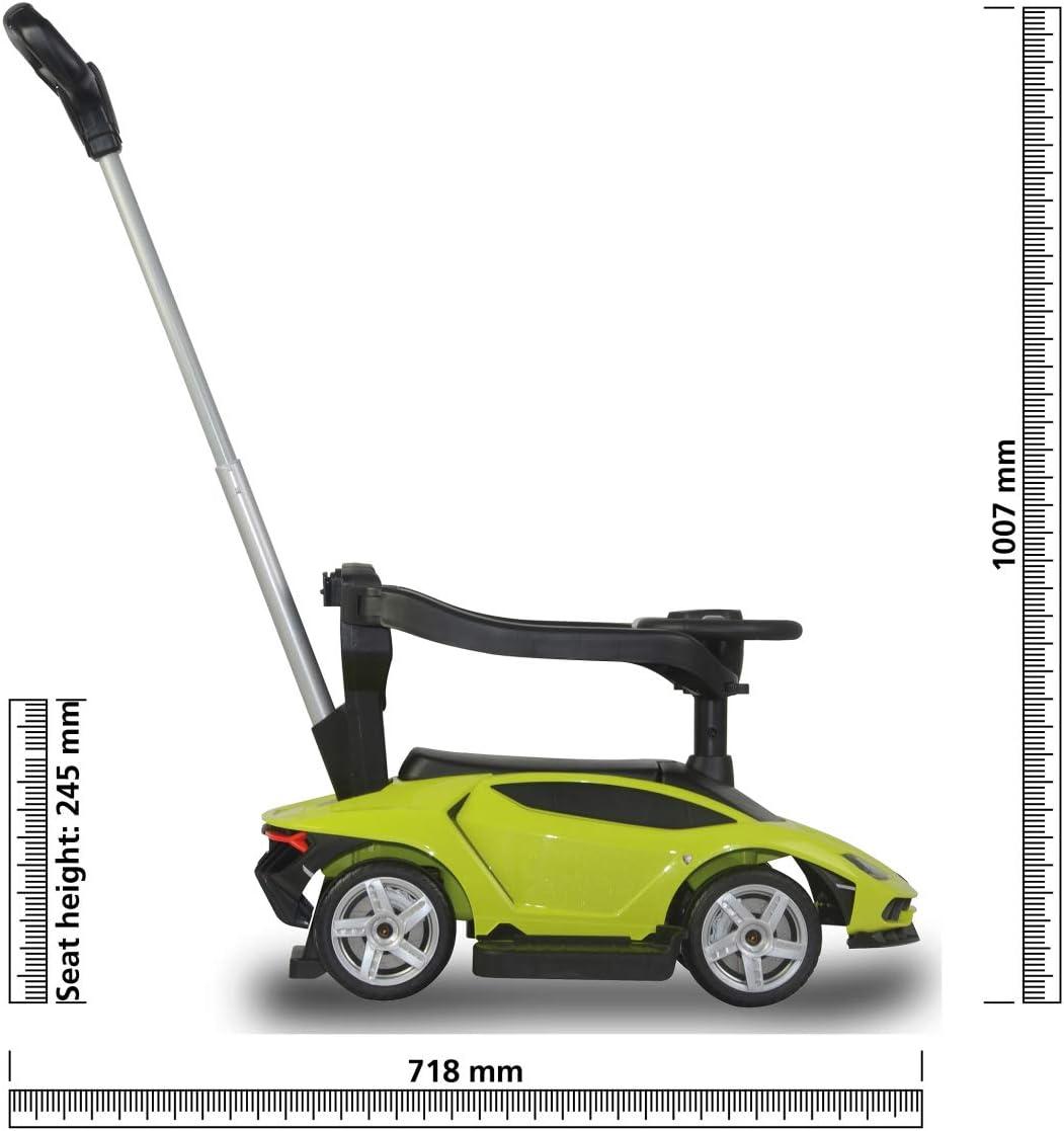 Fu/ßauflage abnehmbar Gr/ün Sound Schubstange Lenkfunktion//h/öhenverstellbar Kofferraum Jamara 460565 Rutscher Lamborghini Centenario 3in1-Kippschutz R/ückenlehne mit seitlichen Schutzb/ügel