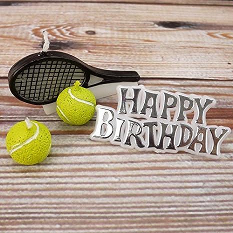 Club Green Happy Birthday 2 Tennis Balls 1 Racquet Candle Kit Yellow Amazon In Home Kitchen