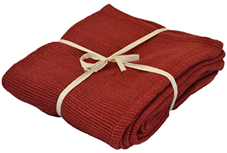 cf9ef663da YogaAccessories Deluxe Cotton Yoga Blanket without Tassels - Cardinal Red