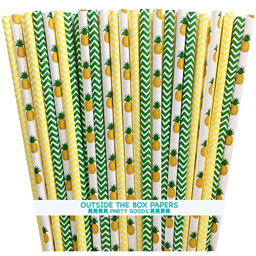 Pineapple Themed and Chevron Paper Straws - Green Yellow White - 7.75 Inches - 100 Pack - Outside the Box Papers Brand
