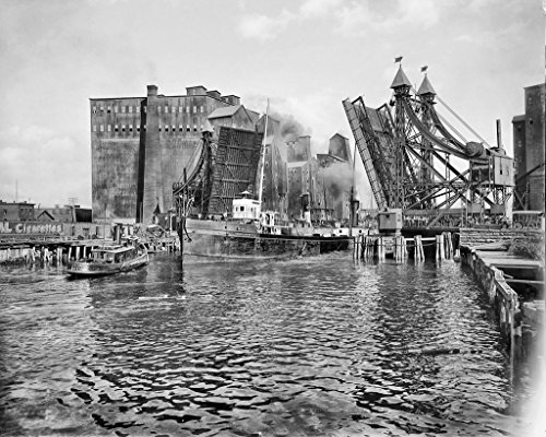 Restored 16x20 Black & White Photo - Historic Buffalo, New York - Passing Beneath the Jack-Knife Bridge, c1900