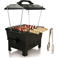 B.N.Brights Hut Shaped Barbeque with 6 Skewers,1 Glove,1 Tong,Electric + Charcoal Grill Compact BBQ (Medium, Black)
