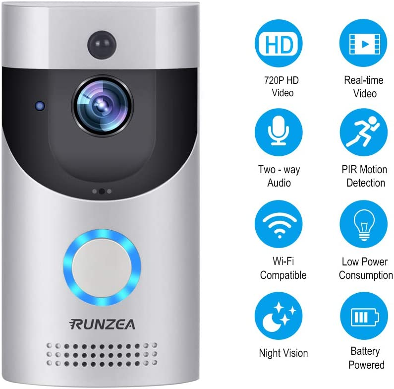 Wi-Fi Camera Smart Doorbell Motion Activated Alerts Doorbell Easy Installation 720 HD Night Vision for iOS Android Google