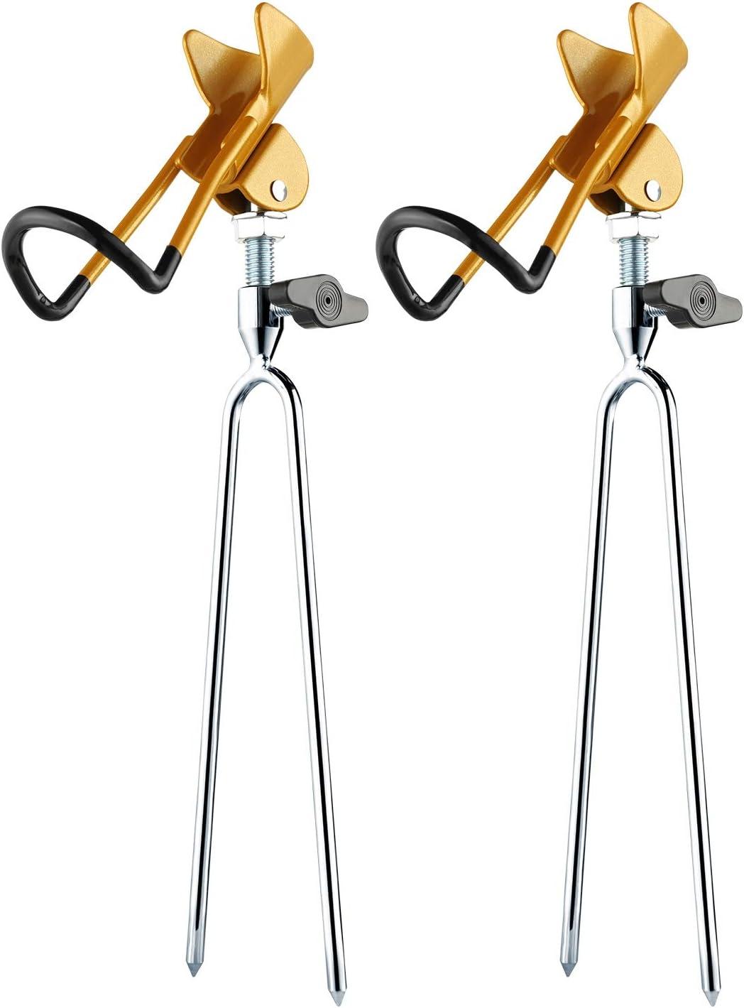 Rodeel 2Pcs Bank Fishing Rod Holder,Detachable Pole Stand Rack,River Beach Lake Fishing,Sand Soil Dirt