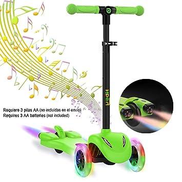 Hiboy S51 Patinete 3 Ruedas Scooter para niños con Música y Vaport +3 Años, Verde: Amazon.es: Deportes y aire libre