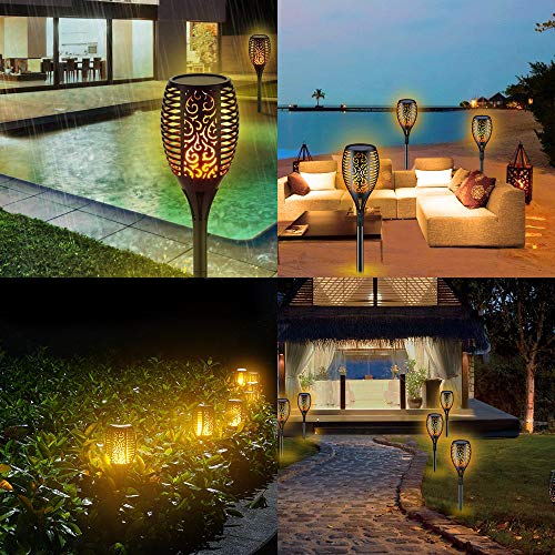 Solar Torch Lights,Waterproof Flickering Flame Torch Lights Outdoor Solar Spotlights Landscape Decoration Lighting Dusk to Dawn Security Path Light for Garden Patio Deck Yard Driveway (4 Pack) by Larkin (Image #2)