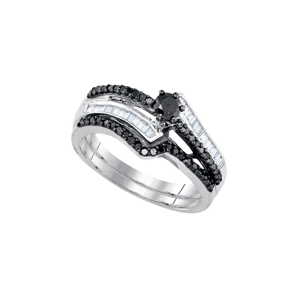 Sterling Silver Womens Round Black Colored Diamond Bridal Wedding Engagement Ring Band Set 5/8 Cttw (I2-I3 clarity; Black color)