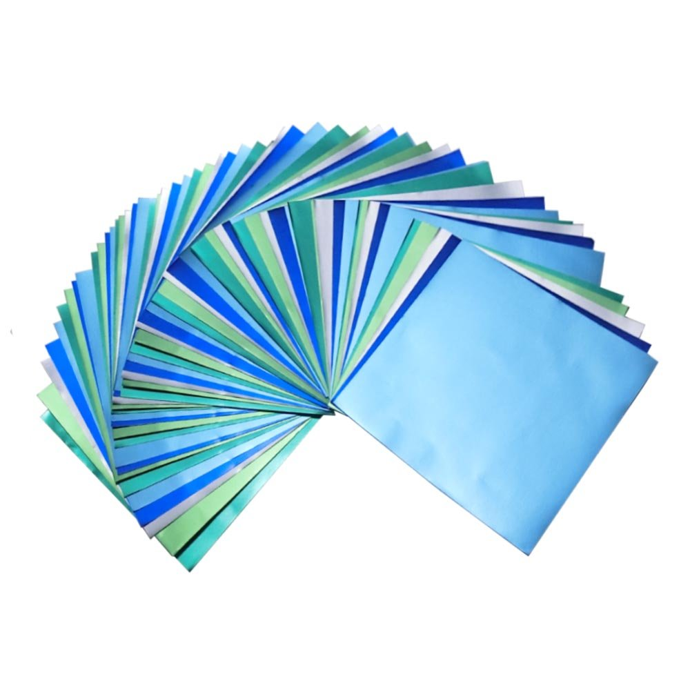 Bluish Foil Paper 90 Sheets Pack, Origami Folding Paper Metallic Blue Colors, 5.9''x5.9'' (15x15 cm) 5Colors by GuCra