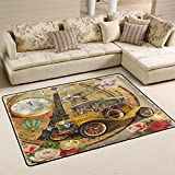 Floral French Paris Eiffel Tower Hot Air Balloon Vintage Poster Car Clock Area Rug Pad Non-Slip Kitchen Floor Mat for Living Room Bedroom 4' x 6' Door Mat Home Decor