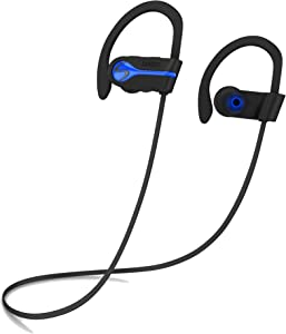 SENSO Bluetooth Wireless Headphones, Best Sports Earphones w/Mic IPX7 Waterproof HD Stereo Sweatproof Earbuds for Gym Running Workout 8 Hour Battery Noise Cancelling Headsets Cordless Heapdhone - Blue