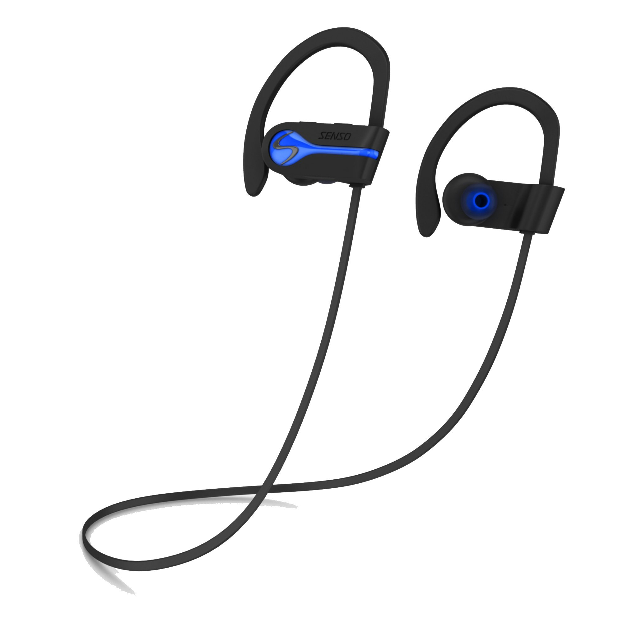 SENSO Bluetooth Wireless Headphones, Best Sports Earphones w/Mic IPX7 Waterproof HD Stereo Sweatproof Earbuds for Gym Running Workout 8 Hour Battery Noise Cancelling Headsets Cordless Heapdhone - Blue by Senso