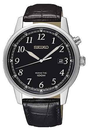 Seiko Reloj Analógico para Hombre de Kinetico con Correa en Cuero SKA781P1: Amazon.es: Relojes