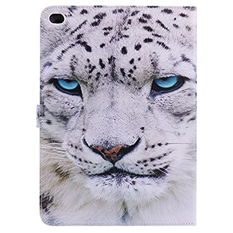iPad Air 2 Wallet Case,iPad 6 Case,Winfrey [White Tiger] PU Leather Wallet Flip Cover with Kickstand Case For Apple iPad Air2 / iPad 6 (Ipad Air 2 Cover Tiger)