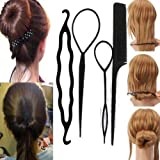 Sanwood Women's 4Pcs Hair Twist Styling Clip Stick Bun Maker Braid Tool