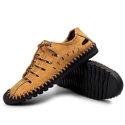 Moodeng Men's Sandals Leather Breathable Close-Toe Sandals Non-Slip Summer Adjustable Beach Fisherman Slippers Outdoor Brown | Sport Sandals & Slides